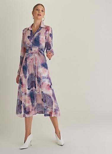 Ng Style Pileli Suluboya Desenli Gömlek Elbise Pembe